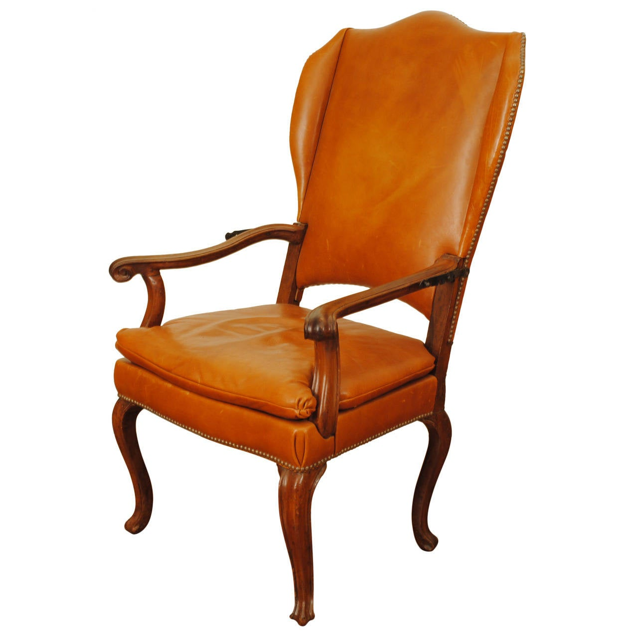 reclining wingback chair pink kitchen table and chairs italian rococo walnut leather upholstered