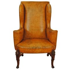 Upholstered Wingback Chair Ergonomic Neck Support Carved Walnut Georgian Style Leather Wing