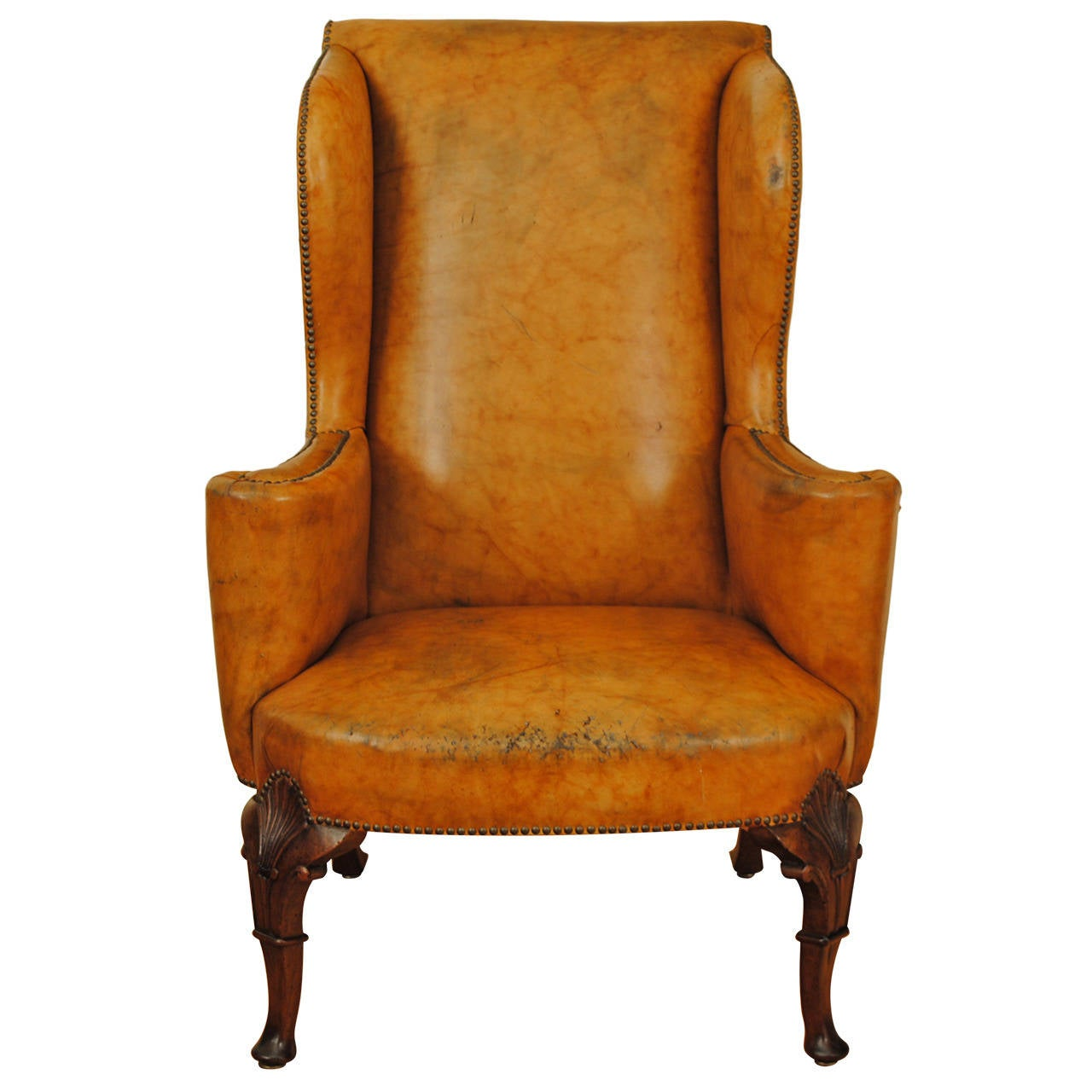 Orange Wingback Chair Carved Walnut Georgian Style Leather Upholstered Wing