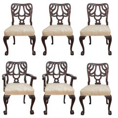 Chinese Chippendale Chairs Extra Large Round Swivel Chair Set Of Six Mahogany At 1stdibs
