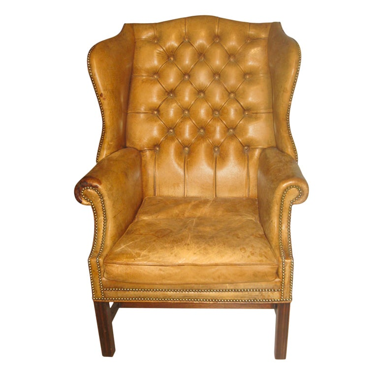 white leather wingback chair shower chairs and benches antique tufted wing at 1stdibs