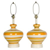 Striped ceramic table lamps For Sale at 1stdibs