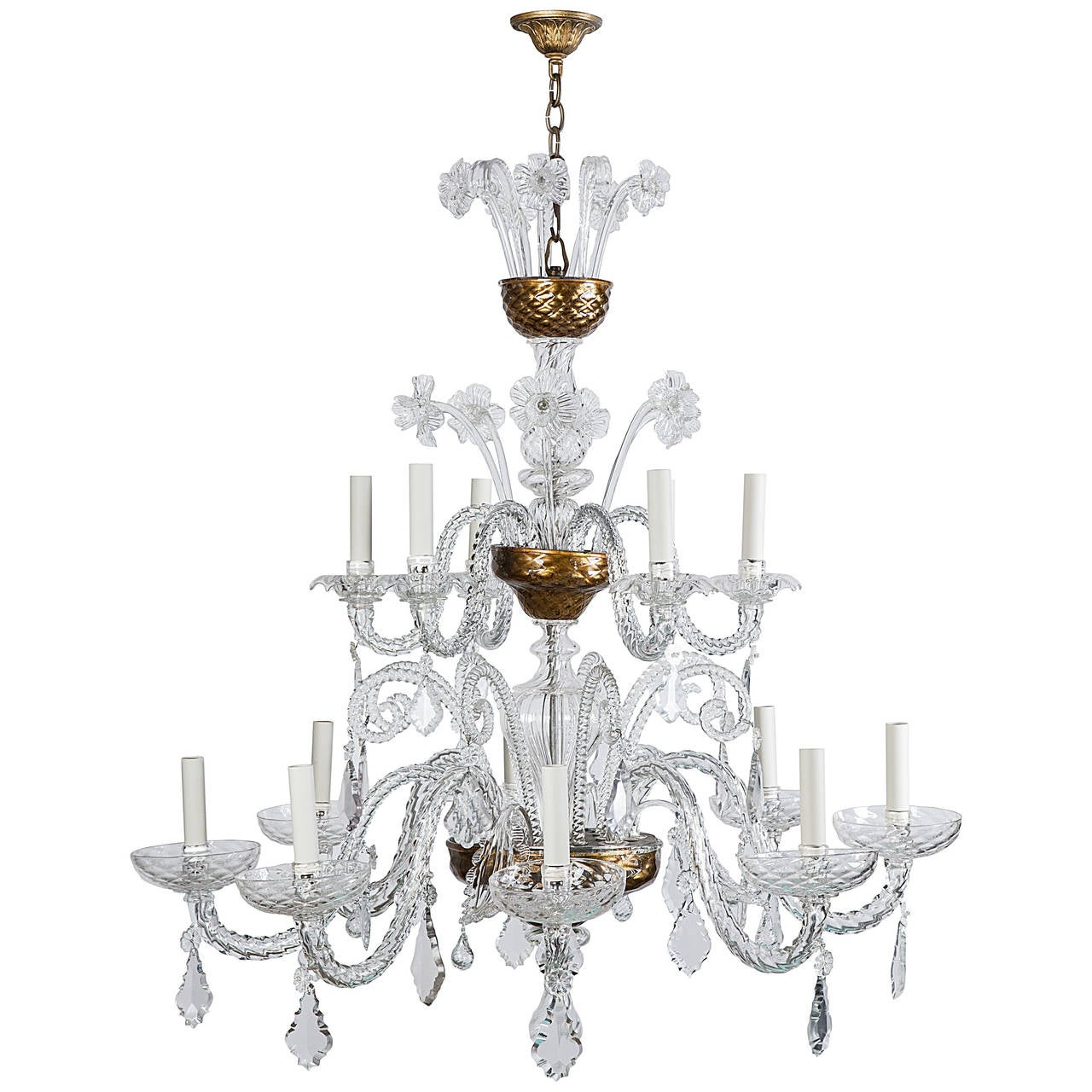 Murano Blown Glass Chandelier With Crystal Prisms At 1stdibs