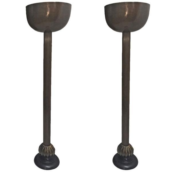 Pair Of Bronze Floor Lamps 1stdibs