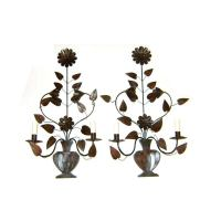 Pair of Large Floral Tole Sconces at 1stdibs