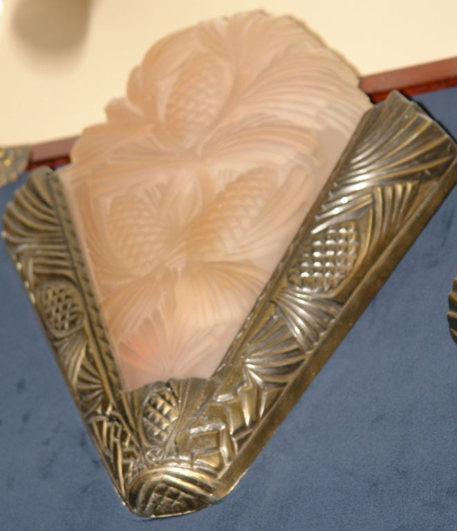 Pair of Deco Pink Sconces Sconces For Sale at 1stdibs