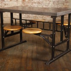 Marble Kitchen Table Set Nooks Industrial Vintage Swing Out Seat Wood, Cast Iron, Steel ...