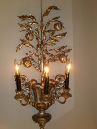 Italian Carved Silvered Wood and Metal Pomegranate Tree ...