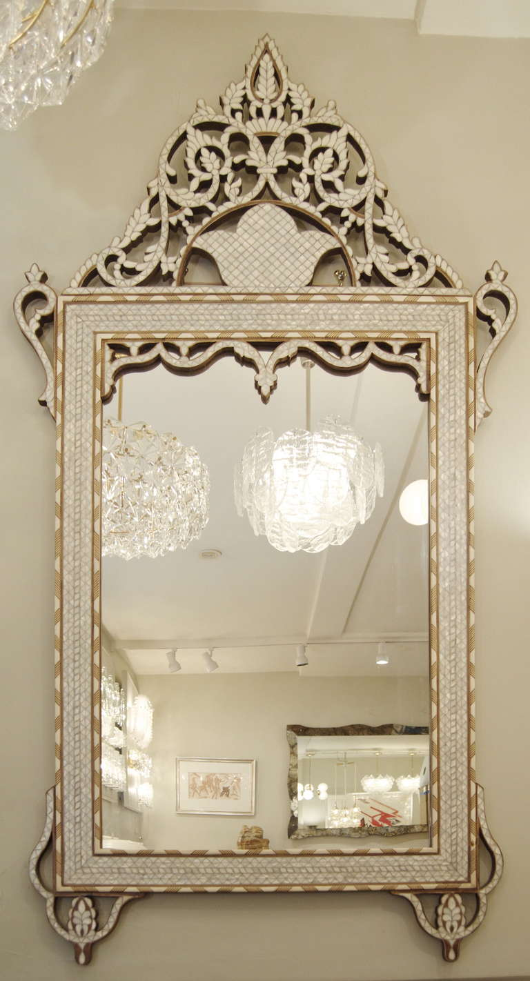 Moroccan Mother Of Pearl And Bone Inlaid Mirror At 1stdibs