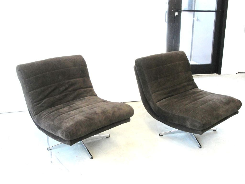 swivel chair in spanish gray glider recliner pair of stunning slipper chairs leather at 1stdibs