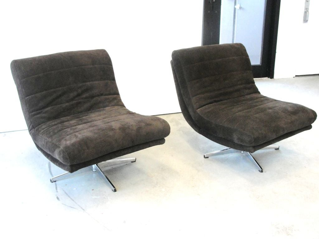 leather slipper chair chocolate covers ivory pair of stunning swivel chairs in at 1stdibs