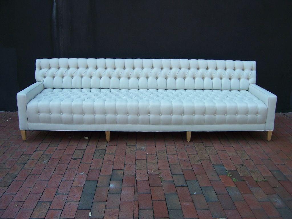 hollywood regency curved sofa custom fabric spectacular tufted at 1stdibs
