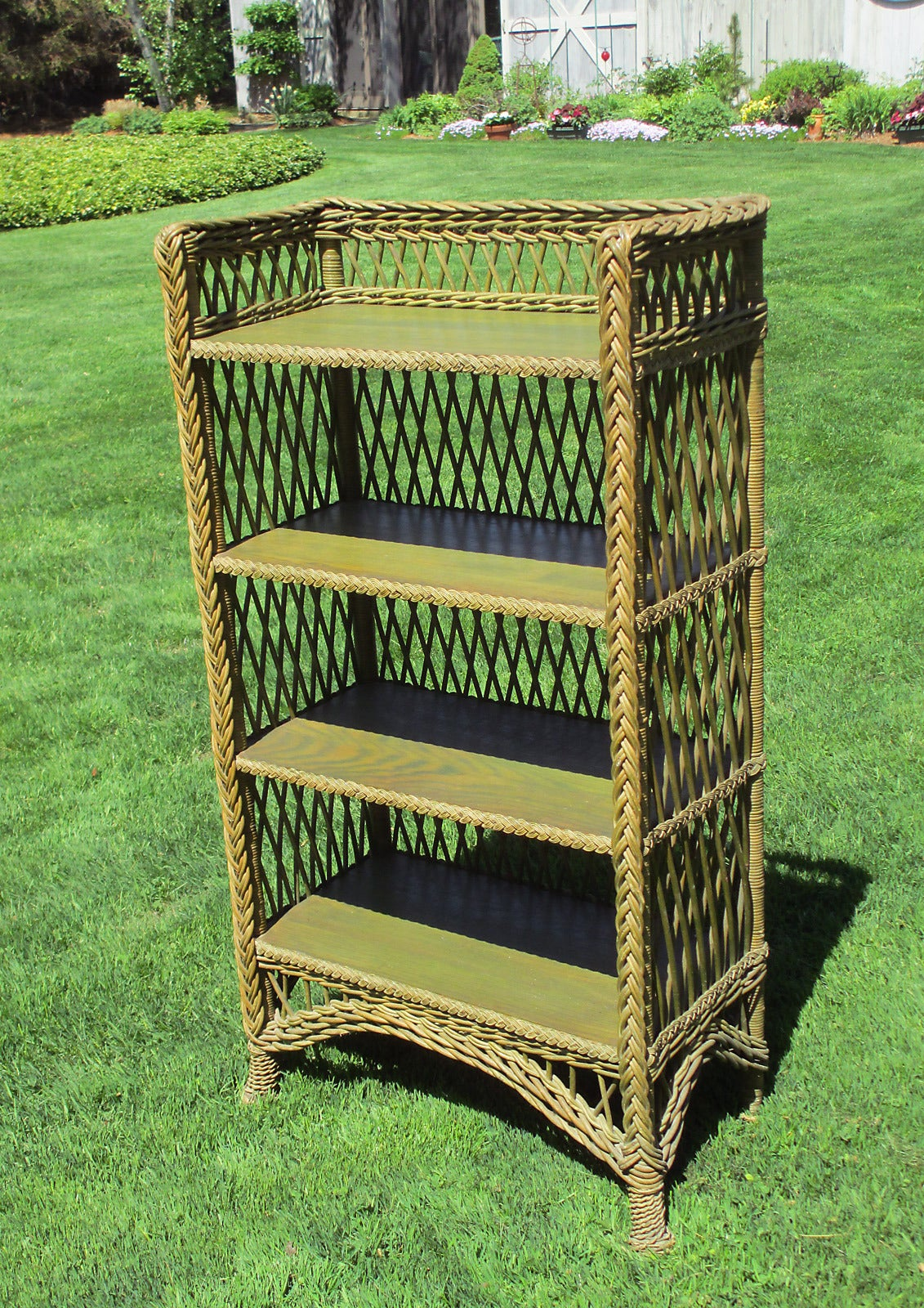 bookshelf chair for sale swing price in india bar harbor wicker bookcase at 1stdibs