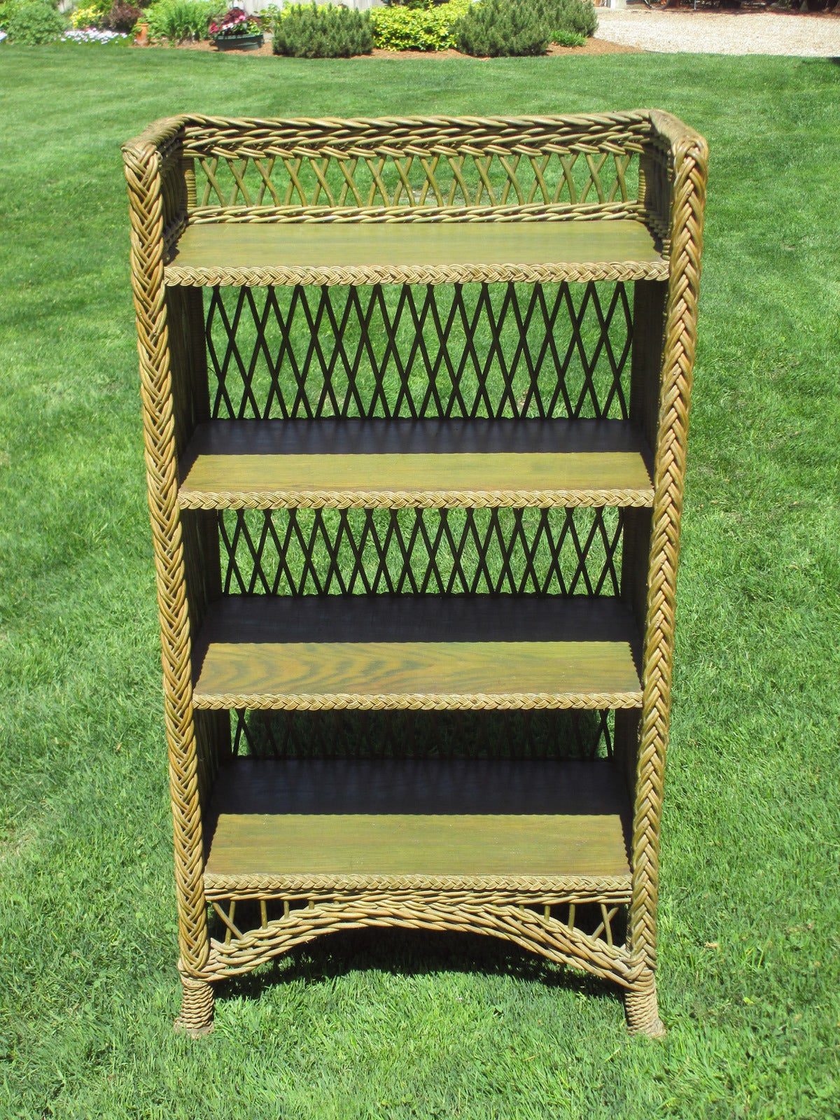 bookshelf chair for sale folding chairs amazon bar harbor wicker bookcase at 1stdibs