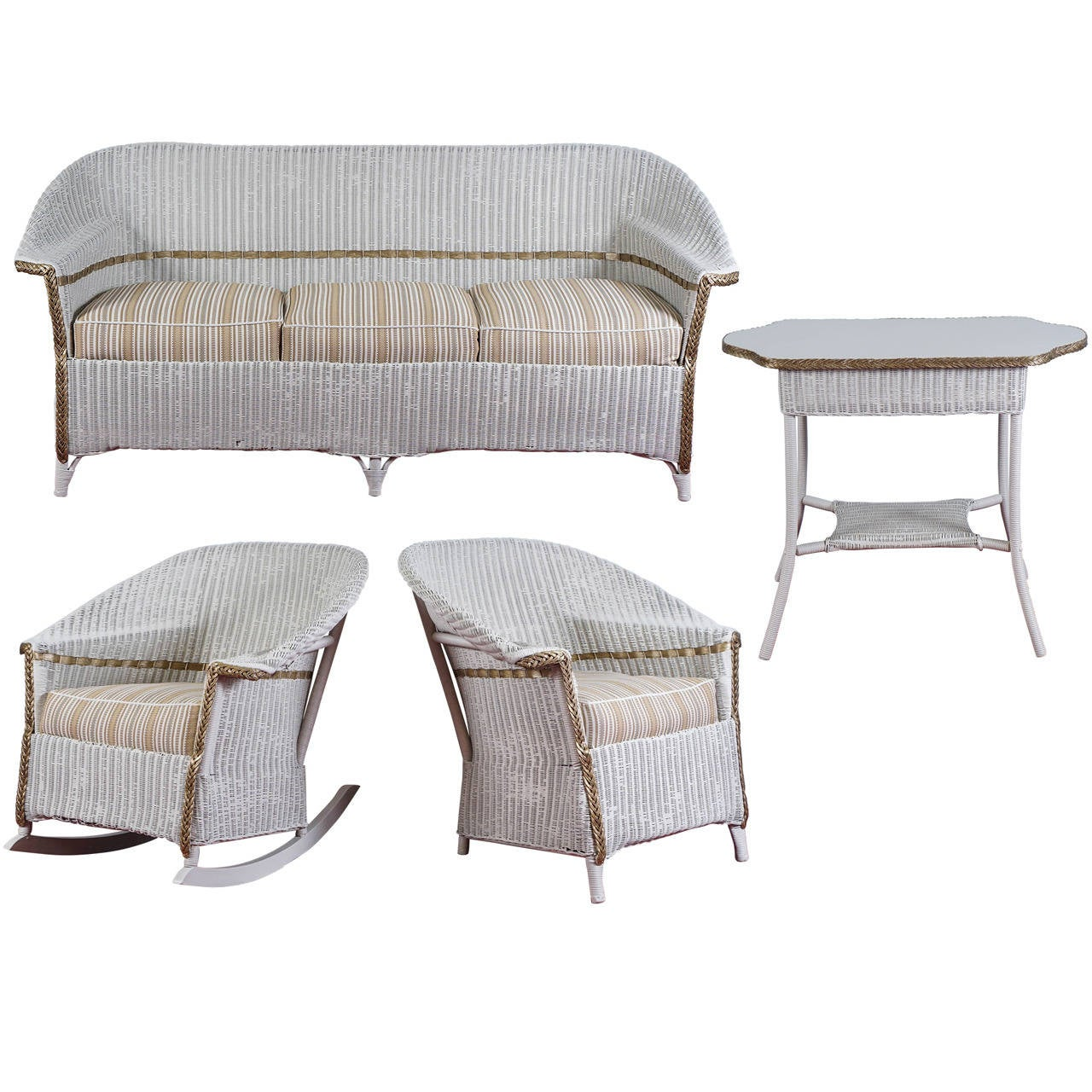 heywood wakefield wicker chairs church of america stylish four piece set at 1stdibs for sale