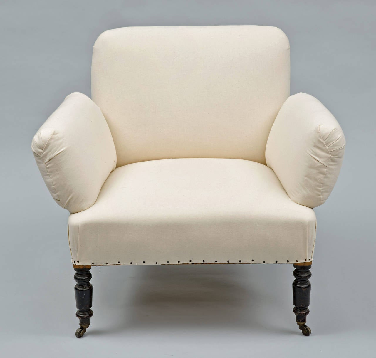 unusual chair legs navy blue leather and ottoman antique french napoleon iii small armchair for