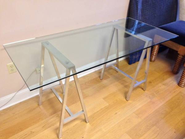 Glass Top Table for Saw Horses