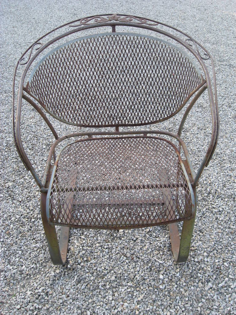 iron table and chairs set wheelchair cover russell woodard vintage bounce dining/ game at 1stdibs