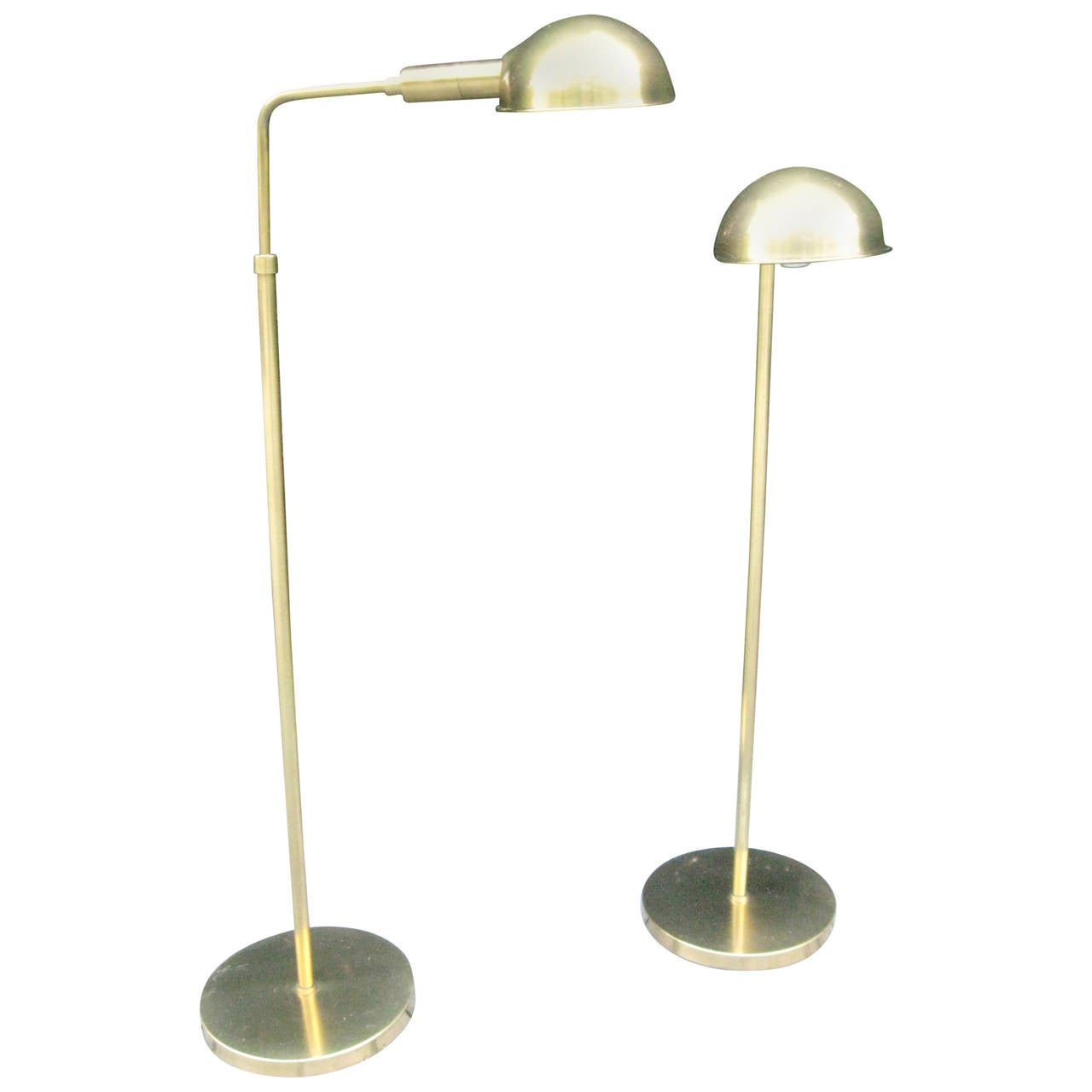 Vintage Pair of Adjustable Brass FloorReading Lamps by Chapman For Sale at 1stdibs