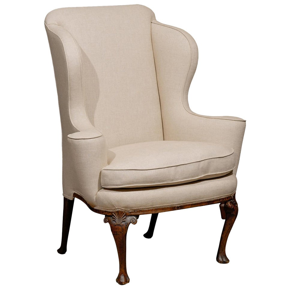 queen anne wing chair how to make beach chairs 18th century english walnut with shell carving for sale