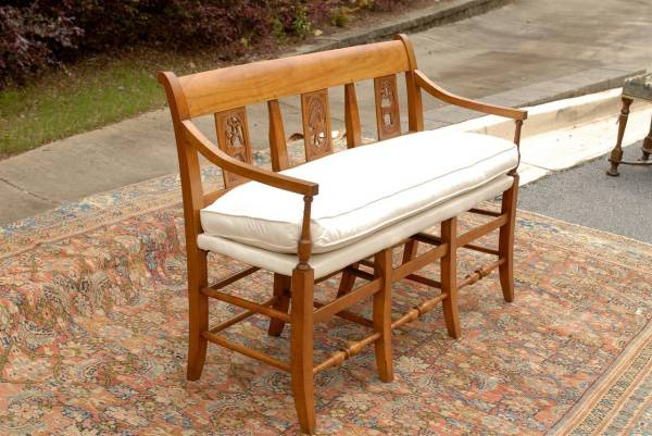 Carved Wooden Benches with Backs