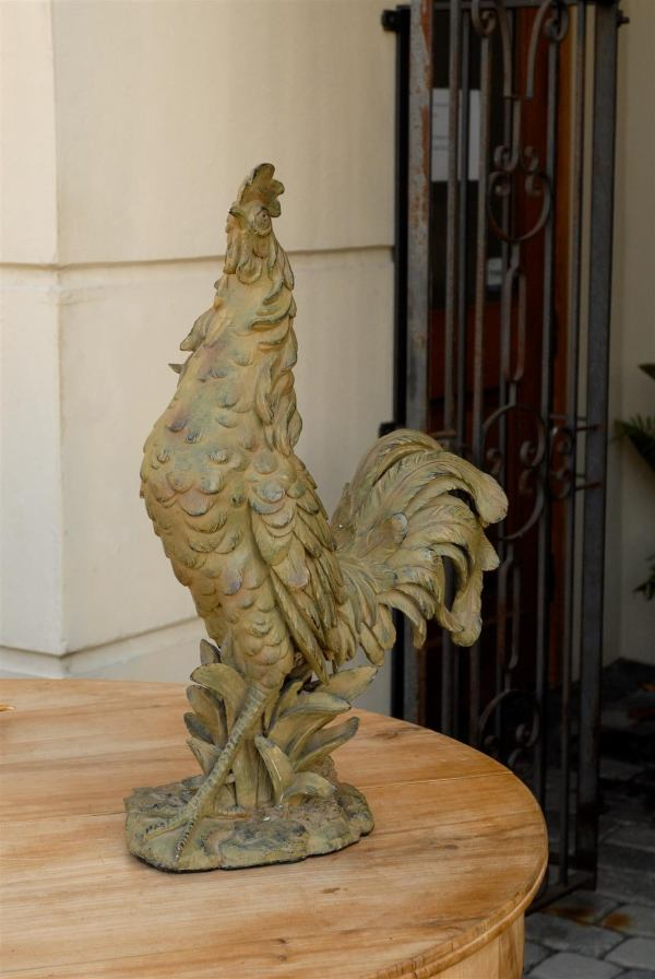 French Rooster Sculpture With Green And Black Accents