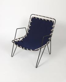 Modernist Iron And Blue Canvas Patio Lounge Chair 1950s
