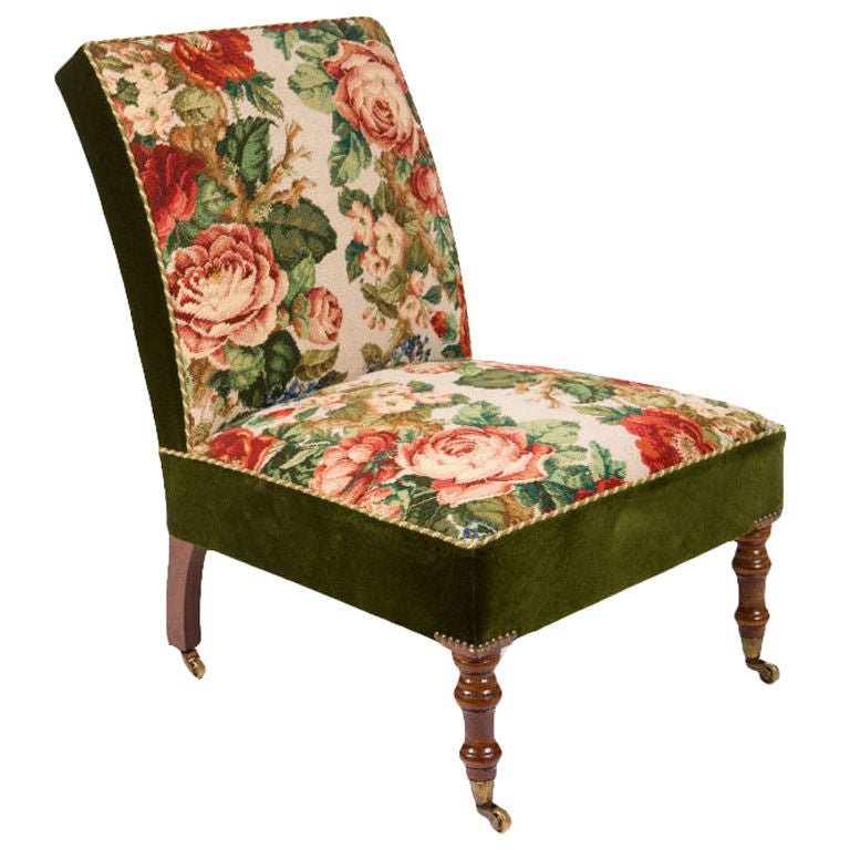 upholstered slipper chair swing indoor needlepoint for sale at 1stdibs