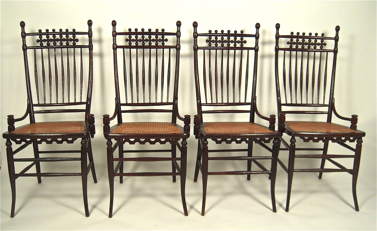 weird shaped chairs vintage folding wooden set of four unusual graphic aesthetic movement period