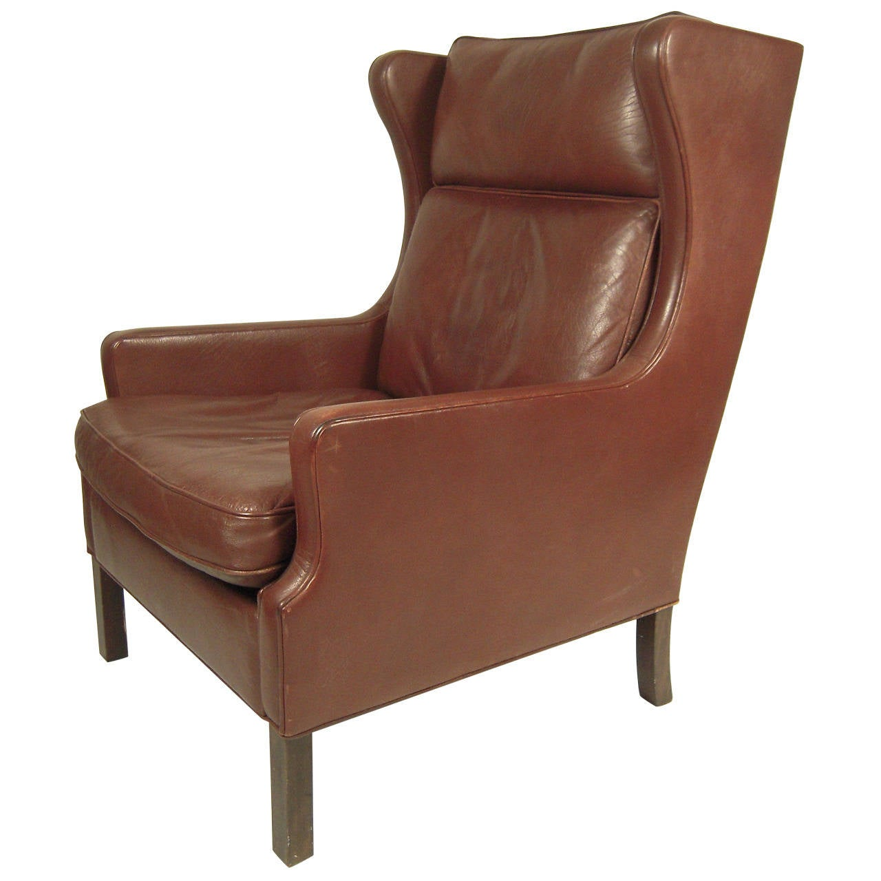 Midcentury Chairs Vintage Danish Mid Century Leather Wingback Chair At 1stdibs