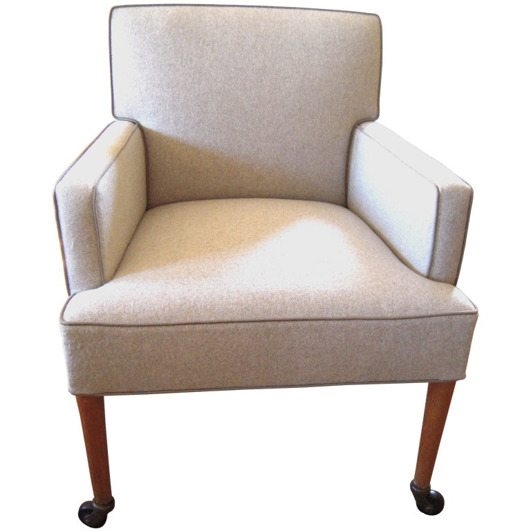 Stylish 1950s Square Upholstered Chair on Wheels at 1stdibs