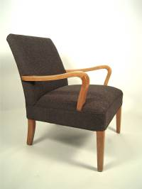 Mid-Century Modern Bentwood Upholstered Armchair at 1stdibs