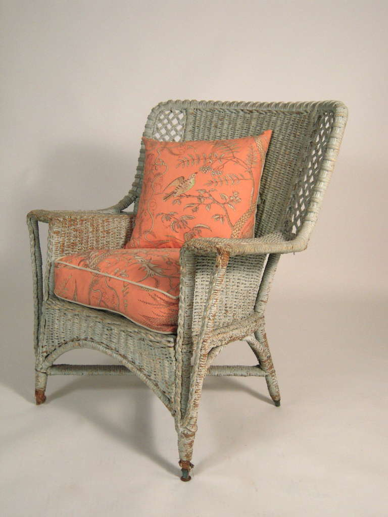 custom made throne chairs chicco hook on chair celadon green painted wicker at 1stdibs