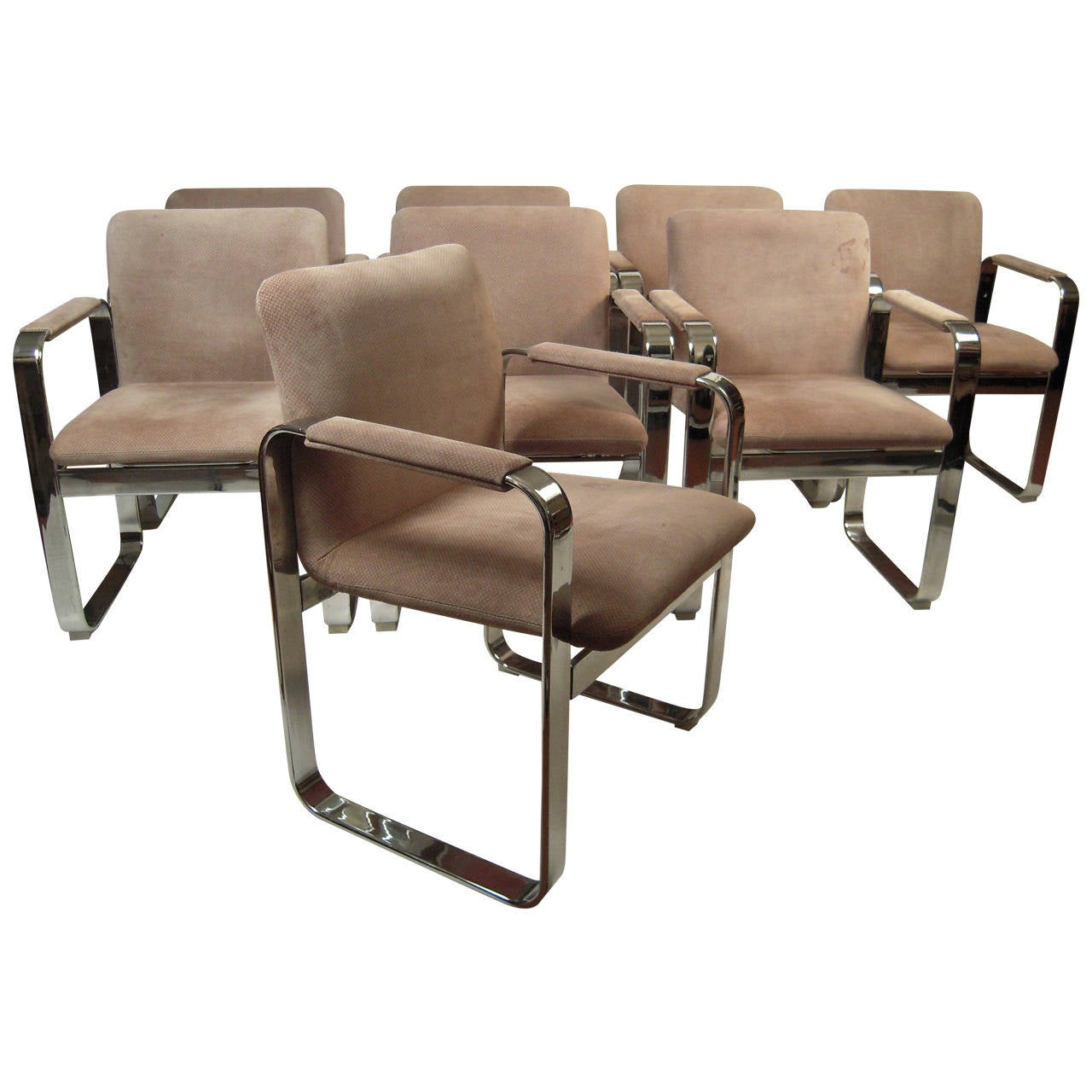 suede dining table chairs bed pillow chair set of eight 1970s italian chrome and