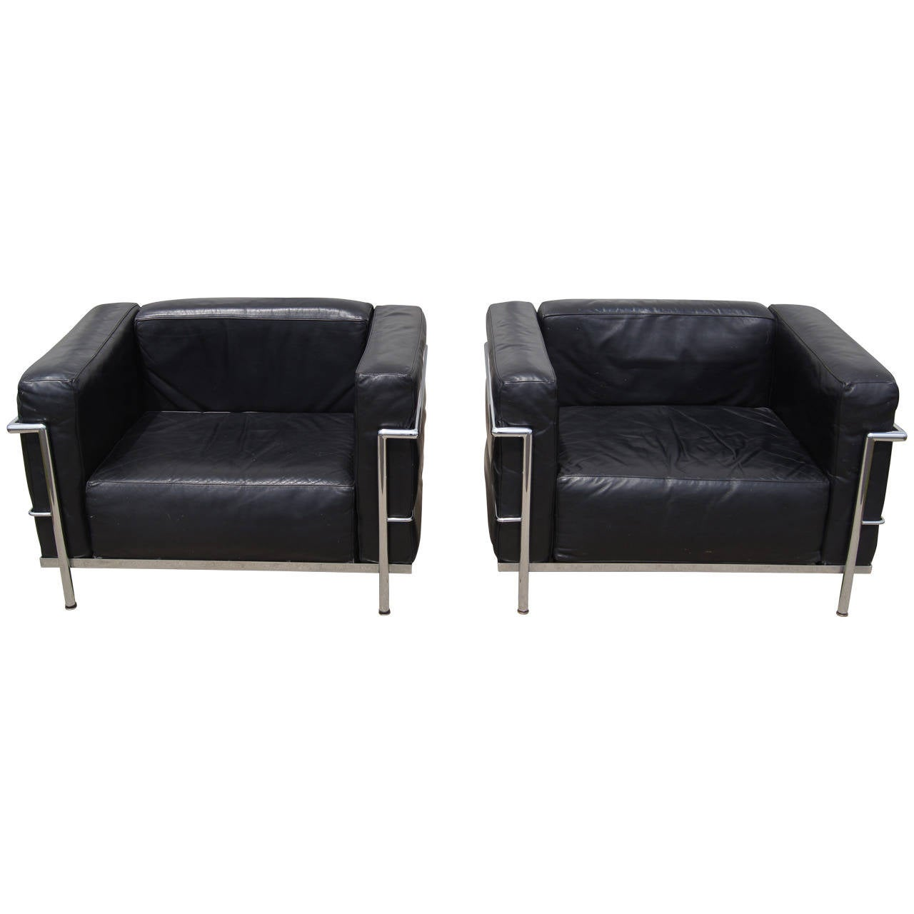 le corbusier chair grey upholstered dining pair of lc3 grand confort lounge by at