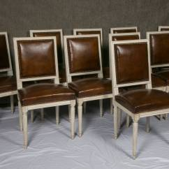 Louis Dining Chairs Bedroom Chair In Grey Set Of Ten French Xvi Style Leather At