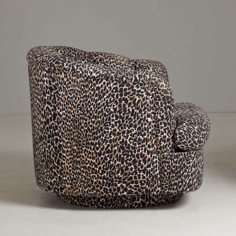 quilted swivel chair for toddlers a pair of leopard print upholstered chairs 1970s at 1stdibs