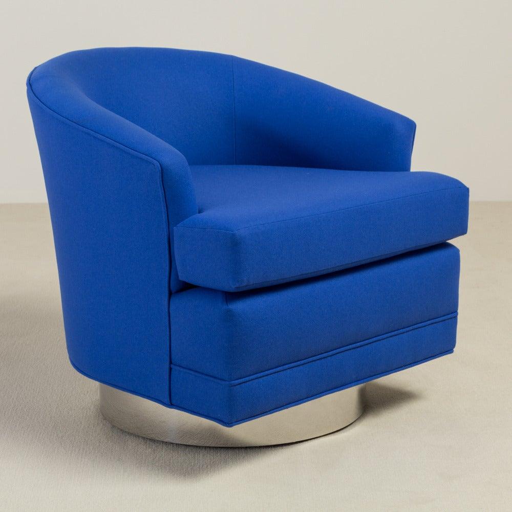 Pair of Cobalt Blue Wool Upholstered Swivel Chairs 1970s
