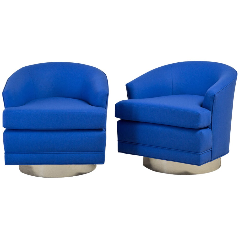 swivel chair dimensions winged back pair of cobalt blue wool upholstered chairs, 1970s at 1stdibs