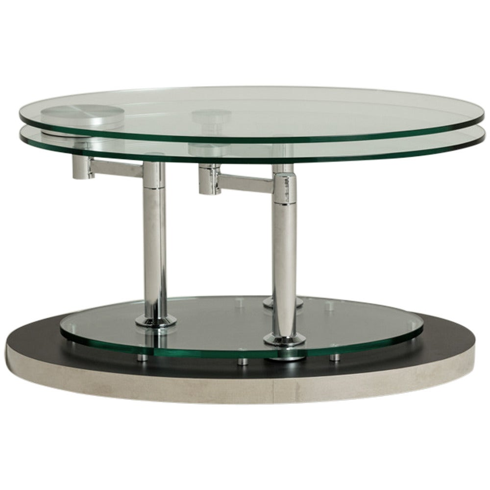 Nickel And Glass Swivel Coffee Table By Dia, 1980s At 1stdibs