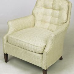 Tufted Chair And Ottoman Black Recliner Button Creamy Linen Lounge For