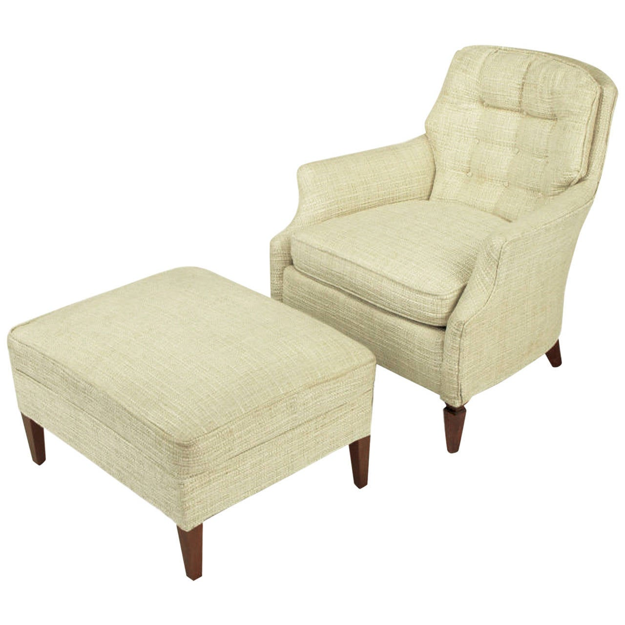 Chair And Ottoman Button Tufted Creamy Linen Lounge Chair And Ottoman For