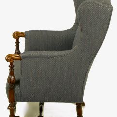 Upholstered Wingback Chair Desk With Footrest Italian Regency Wing Carved Wood