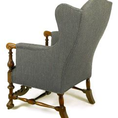 Upholstered Wingback Chair Fishing And Umbrella Italian Regency Wing With Carved Wood