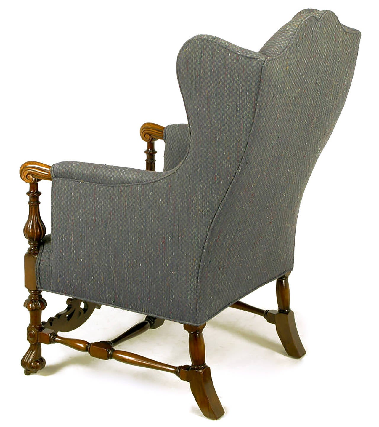 Wood Frame Accent Chairs Italian Regency Upholstered Wing Chair With Carved Wood