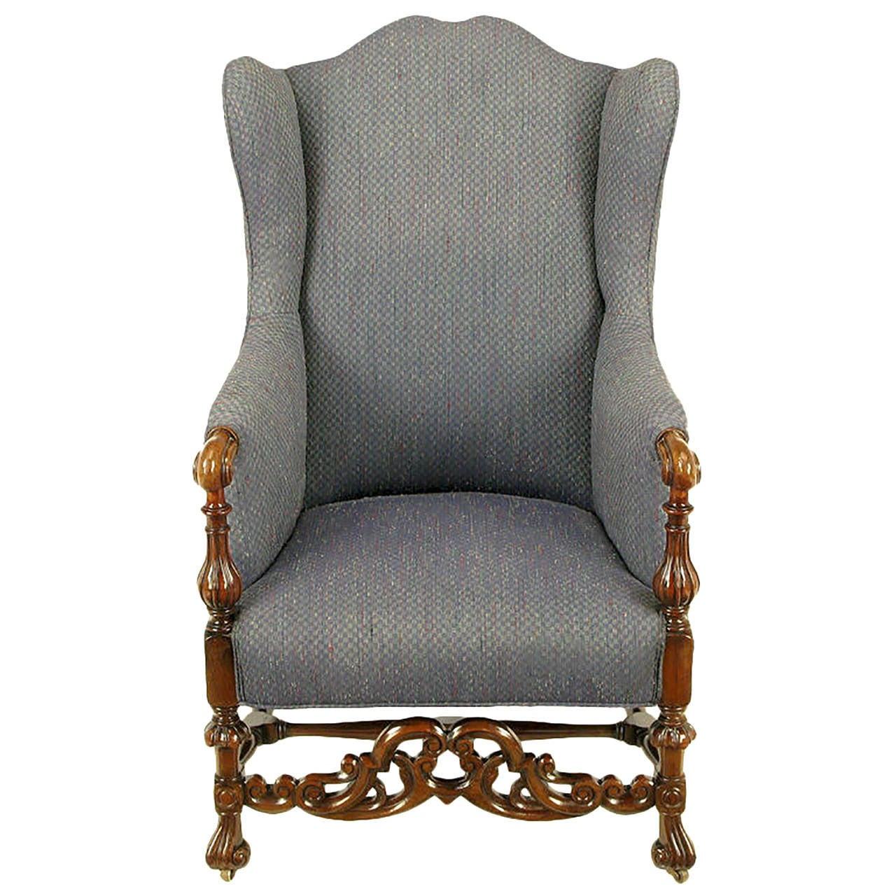 Wing Chair Italian Regency Upholstered Wing Chair With Carved Wood