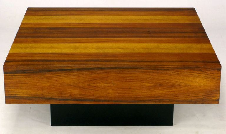 Danish Exotic Wood Parquetry Top Square Coffee Table For