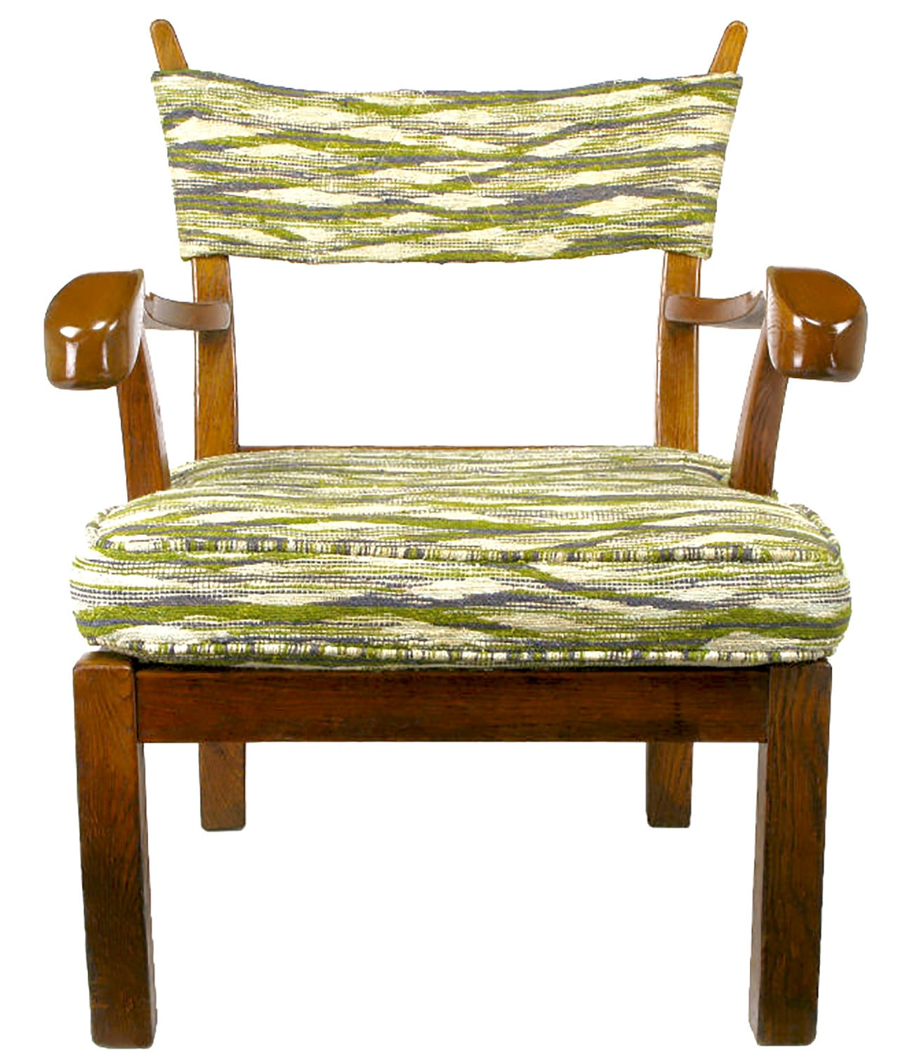 unusual armchair chair side book stand studio carved oak in liebes style fabric