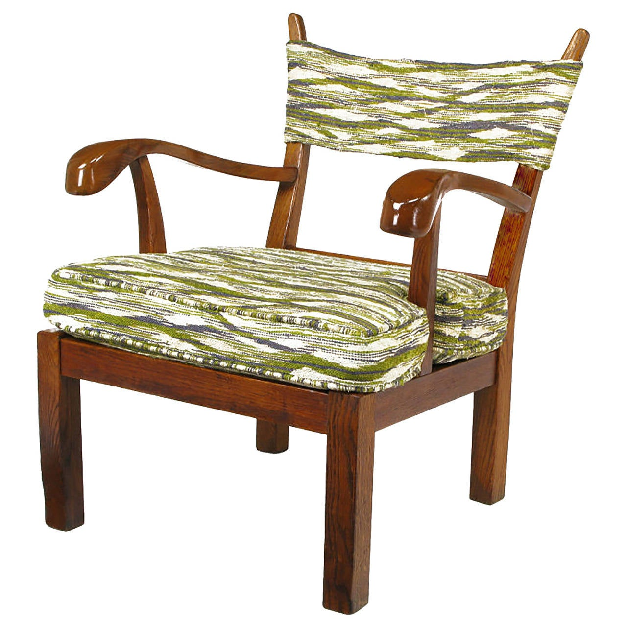 unusual armchair rent chairs for event studio carved oak in liebes style fabric