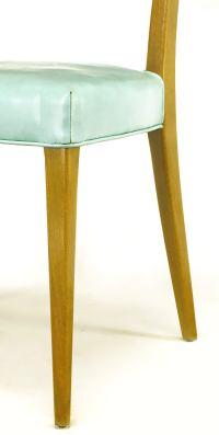 Harvey Probber Tiffany Blue Leather and Mahogany Side